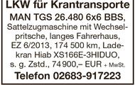 LKW für Krantransporte MAN TGS 26.480 6x6 BBS