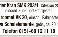 Peiner Kran SMK 203/1, Arcomet VK 20, Meva Schalelemente