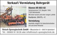 Verkauf / Vermietung Bohrgerät