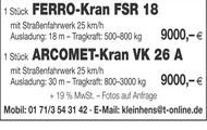 FERRO-Kran FSR 18, ARCOMET-Kran VK 26 A