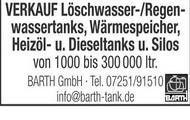 VERKAUF Löschwasser-/Regenwassertanks, Wärmespeicher, Heizöl- u. Dieseltanks u. Silos