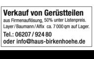Gerüstteile Layher / Baumann / Alfix