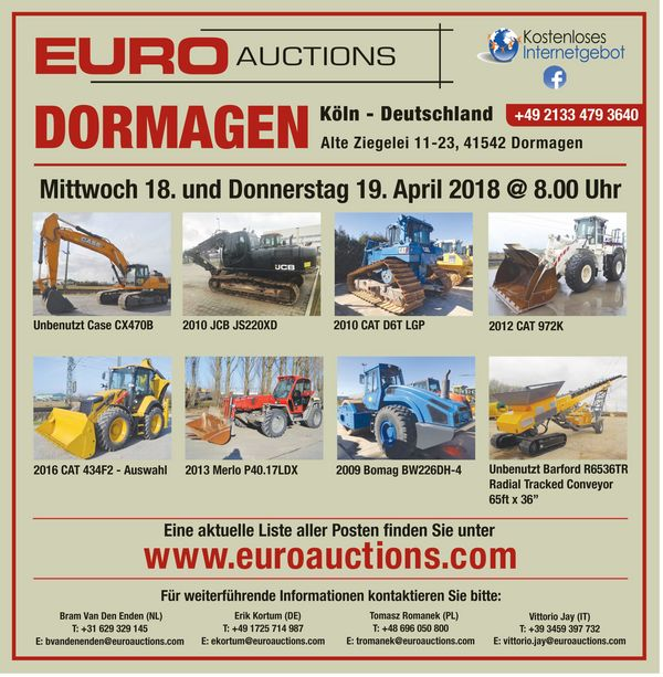 Euroauctions: DORMAGEN - 18th & 19th April 2018 @8.00am