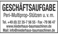 GESCHÄFTSAUFGABE Peri-Multiprop-Stützen u.v.m.
