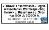 Löschwasser-/Regenwassertanks, Wärmespeicher, Heizöl- und Dieseltanks, Silos