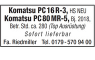 Komatsu PC 16 R-3, Komatsu PC 80 MR-5