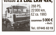 Verkaufe 2 x LIAZ LKW 4x4