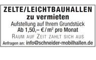 ZELTE/LEICHTBAUHALLEN zu vermieten