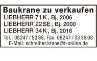 Baukrane zu verkaufen: z.B. Liebherr 71 K