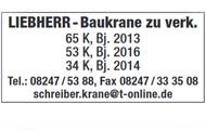 LIEBHERR - Baukrane zu verkaufen