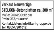 Verkauf Neuwertige STELCON-Betonplatten ca. 300 m2