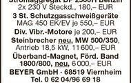 Stromaggregat, Schutzgassschweißgeräte, Steinbecher u.v.m