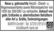 Neue u. gebrauchte Heizöl-, Diesel- u. Regenwassertanks