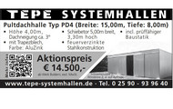 TEPE SYSTEMHALLEN Pultdachhalle Typ PD4
