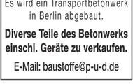 Transportbetonwerk zu verkaufen
