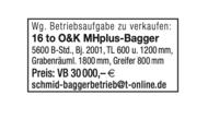 16 to. O&K MHPlus Bagger