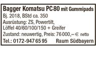Bagger Komatsu PC 80 mit Gummipads