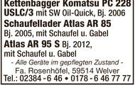 Kettenbagger Komatsu PC 228, Schaufellader Atlas u.a.